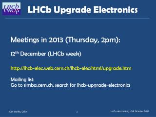 LHCb  Upgrade  Electronics