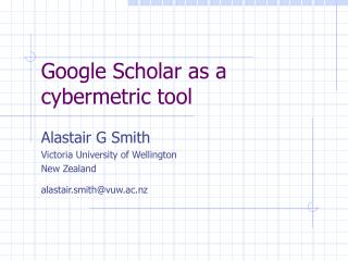 Google Scholar as a cybermetric tool