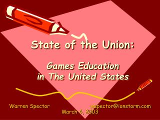 State of the Union: Games Education in The United States