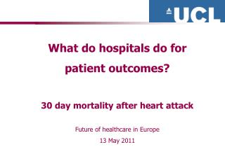 What do hospitals do for  patient outcomes? 30 day mortality after heart attack