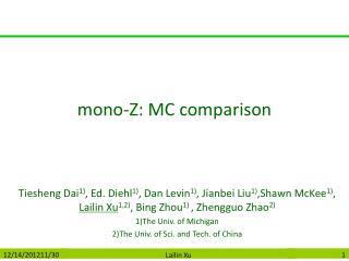 mono-Z: MC comparison