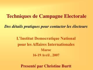 Techniques de Campagne Electorale