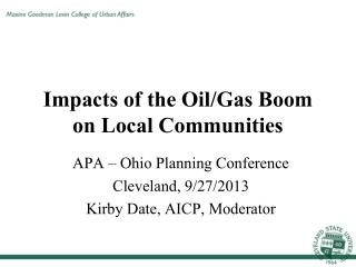 Impacts of the Oil/Gas Boom on Local Communities