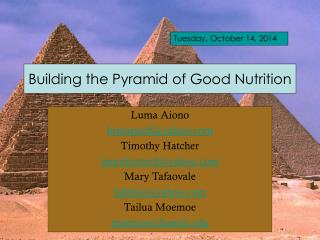 Building the Pyramid of Good Nutrition