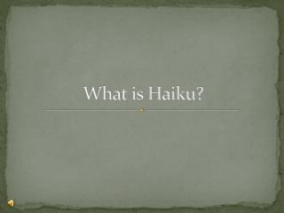 What is Haiku?