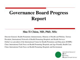 Governance Board Progress Report