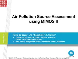 Air Pollution Source Assessment  using MIMOS II