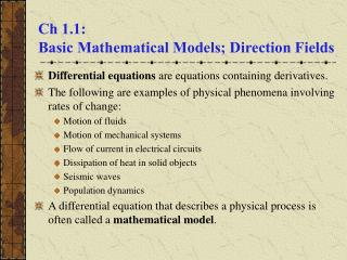 Ch 1.1:   Basic Mathematical Models; Direction Fields