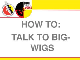 HOW TO: TALK TO BIG-WIGS