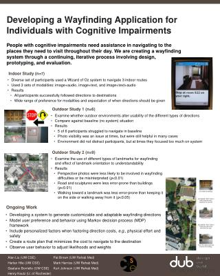 Developing a Wayfinding Application for Individuals with Cognitive Impairments