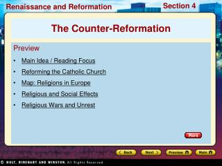 Preview Main Idea / Reading Focus Reforming the Catholic Church Map: Religions in Europe