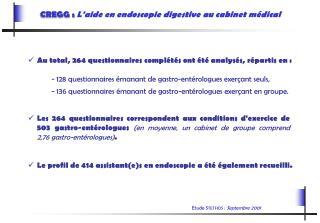 CREGG :  L'aide en endoscopie digestive au cabinet médical