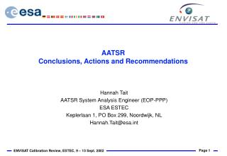 AATSR Conclusions, Actions and Recommendations