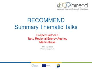 RECOMMEND  Summary  Thematic  Talks