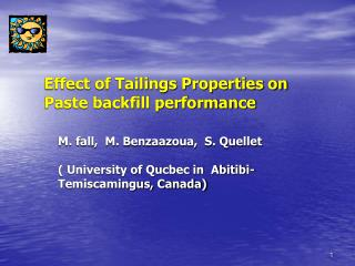 Effect of Tailings Properties on Paste backfill performance