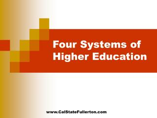 Four Systems of Higher Education