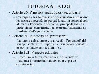 TUTORIA A LA LOE