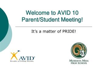 Welcome to AVID 10 Parent/Student Meeting!