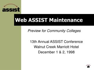 Web ASSIST Maintenance