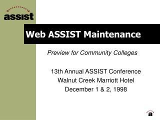 Web ASSIST Maintenance