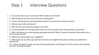 Step 1       Interview Questions