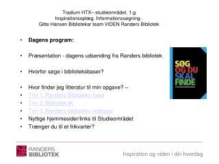 Dagens program: Præsentation - dagens udsending fra Randers bibliotek