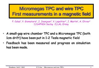 Micromegas TPC and wire TPC First measurements in a magnetic field