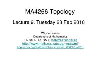 MA4266 Topology
