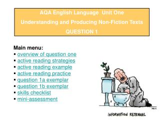 AQA English Language  Unit One Understanding and Producing Non-Fiction Texts QUESTION 1