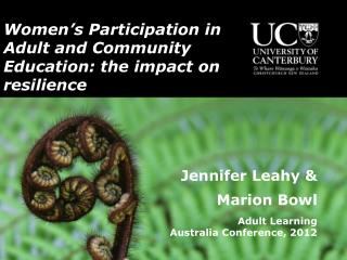 Women ' s Participation in Adult and Community Education: the impact on resilience