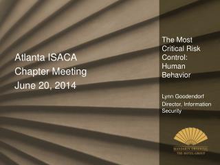 The Most Critical Risk Control: Human Behavior