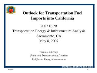 Outlook for Transportation Fuel Imports into California