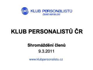 KLUB PERSONALISTŮ ČR