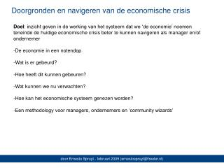 Doorgronden en navigeren van de economische crisis