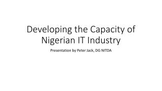 Developing the Capacity of Nigerian IT Industry