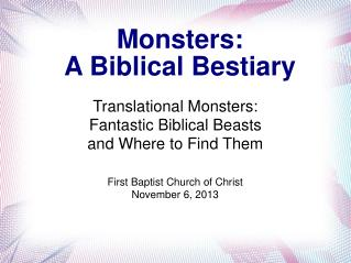 Monsters: A Biblical Bestiary