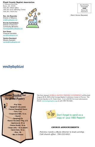 Floyd County Baptist Association 17 Burnett Ferry Rd. Rome, GA  30165 706-291-0904 Office 706-291-8181 Ministry Center 7