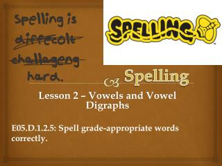 Lesson  2 – Vowels and Vowel Digraphs