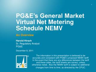 PGE s General Market Virtual Net Metering Schedule NEMV
