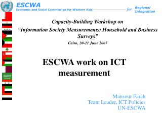 ESCWA work on ICT measurement