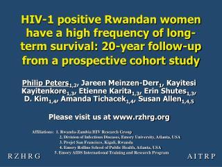 Affiliations:  1. Rwanda-Zambia HIV Research Group