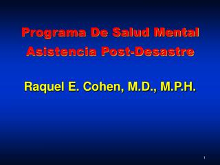 Programa De Salud Mental Asistencia Post-Desastre