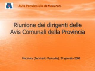 Riunione dei dirigenti delle Avis Comunali della Provincia