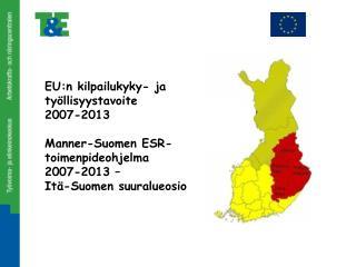 EU:n kilpailukyky- ja ty�llisyystavoite 2007-2013 Manner-Suomen ESR-toimenpideohjelma