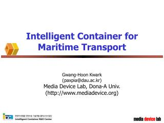 Intelligent Container for Maritime Transport