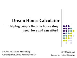 Dream House Calculator