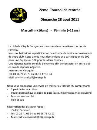 2�me  Tournoi de rentr�e Dimanche 28 aout 2011