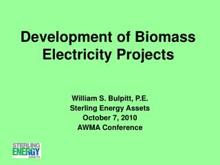 Development of Biomass Electricity Projects