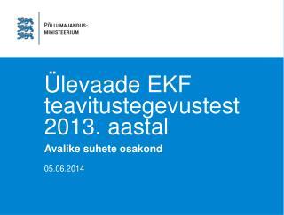 Ülevaade EKF teavitustegevustest 2013. aastal