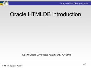 Oracle HTMLDB introduction